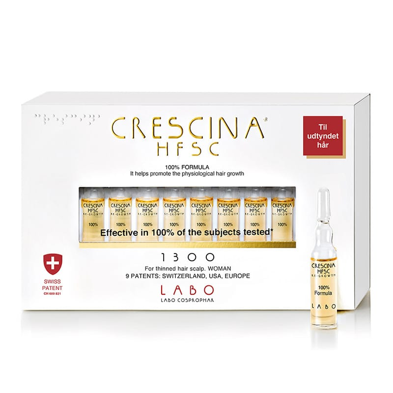 Crescina Re-Growth – 1300 – KVINDE - Behandling af hårudtynding i fremskredent stadie. Fremmer den Fysiologiske Hårvækst. Kliniske test efter 4 måneders brug viser:* 6,336 nye hår * 46,8% styrket hår (modstandskraft mod udtrækning). Indhold: 20 x 3,5ml hætteglas -1 måneds behandling Leve